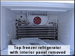 top-freezer refrigerator with the evaporator cover panel removed exposing  the evaporator (cooling)  on most frost free